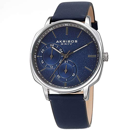 Akribos XXIV Men's Watch – Blue Genuine Leather Band, Sand Blasted Grained Dial and 24 Hour and Date Recessed Sub-Dials – Quartz Movement - AK1022BU