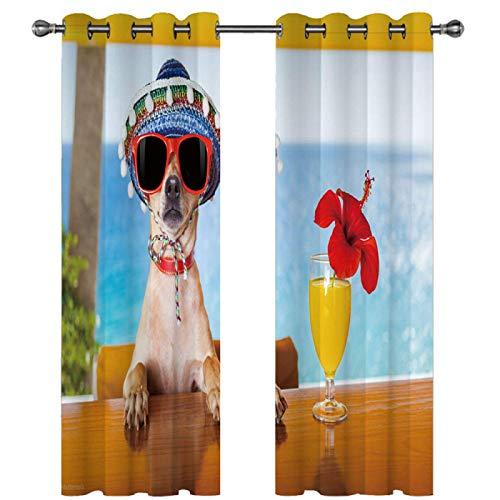 SSHHJ Paquete De 2 Cortinas Impresas Adecuado para Cortinas Opacas En Centros Comerciales, Parques De Atracciones Y Hoteles Impresión Digital 3D con Patrón De Animales