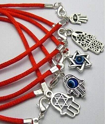 YANGYANG 5 Piezas mezcladas de amuletos de Mano de Hamsa de la Suerte Pulseras de Hilo Rojo y protección de Brazalete para Hombres y Mujeres para joyería de Moda-como Imagen, 18Cm