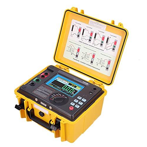 Probador de Resistencia de Aislamiento Digital, Megaohmímetro de alto Voltaje de 10KV con Diseño de Caja Exterior Impermeable y Pantalla LCD de Alta Definición(EU Plug)