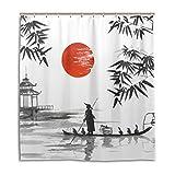 jstel Decor Vorhang für die Dusche Japanische Malerei Mann mit Boot Muster Print 100prozent Polyester Stoff 167,6x 182,9cm für Home Badezimmer Deko Dusche Bad Vorhänge mit Kunststoff Haken