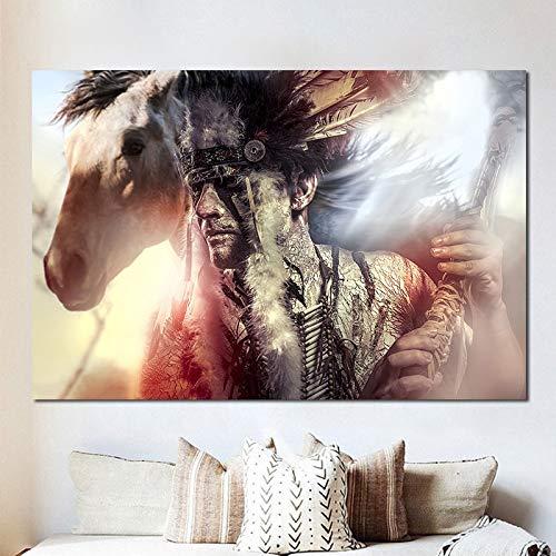 Indio aborigen y caballo blanco Animal pared arte lienzo pintura cartel impresión arte nórdico pared sala de estar dormitorio decoración sin marco imagen B7 70x100cm