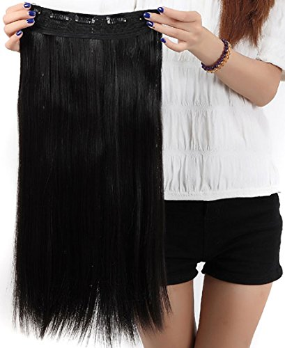 S-noilite® Fashion 23 Inches (58cm) 3/4 Full Head One Piece 5clips Clip in Hair Extensions Extension Long Straight All Colors (Natural Black)