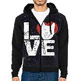 JUN7MING HAT Men's Sleeve Hoodie Akita Dog Lovers Zip Up Sportswear Jackets Black
