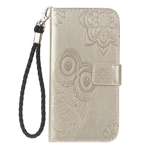 Hülle für [Huawei P10 Lite] Lederhülle Flip Tasche Klappbar Handyhülle mit [Kartenfächer] [Ständer Funktion], Cover Schutzhülle für Huawei P10Lite - JEYK010634 Gold