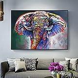 Impresiones en lienzo Abstracto colorido elefante calle Graffiti arte lienzo pintura Cuadros impresión arte de pared para la decoración del hogar de la sala de estar Cuadro nórdico Mural Art 50x70cm