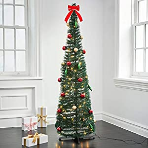Pop Up Christmas Tree with Lights – 6Ft, Collapsible for Easy Storage, 150 Warm White Lights, 37 Holiday Ornaments and Bow Included, Prelit Decorated Artificial Pencil Tree