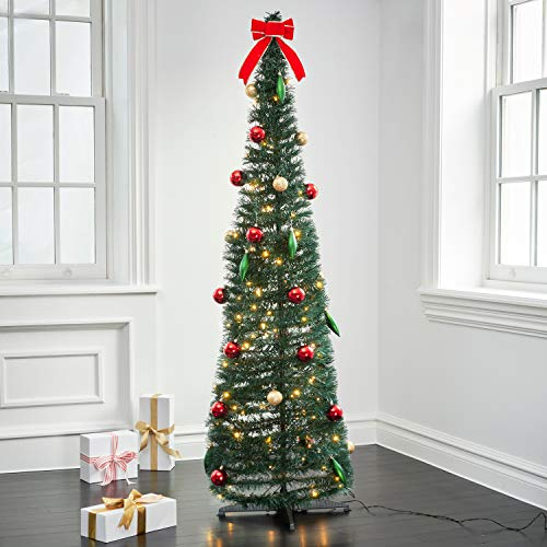 LampLust Pop Up Christmas Tree with Lights - 6Ft, Collapsible for Easy Storage, 150 Warm White Lights, 37 Holiday Ornaments and Bow Included, Prelit Decorated Artificial Pencil Tree