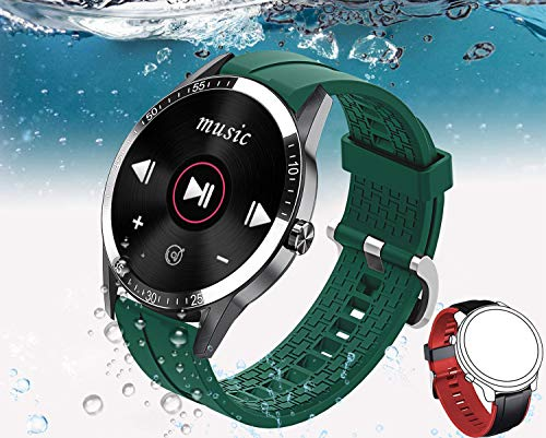 Reloj Inteligente Hombre, Smartwatch Mujer | 2021 última versión | 168 MB ROM | IP68 Impermeable con música, Pulsómetro, Sueño, 14 Modos Deportivos y de Salud (2 Correas Verde y Naranja)