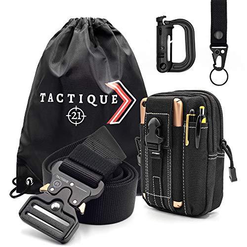 Cinturón Táctico con Bolsa Táctica, Mosquetón y llavero Táctico - Cinturón Policial con Accesorios - Para Vigilante de Seguridad, Policia, Trabajo