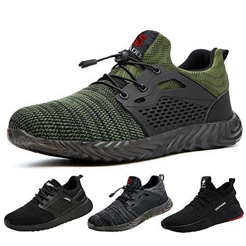 SUADEEX Sicherheitsschuhe Herren s3 Arbeitsschuhe Damen Leicht Atmungsaktiv Schutzschuhe mit Stahlkappe Sportlich Schuhe,02-Grün,43 EU