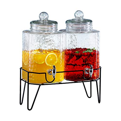 Style Setter 210266-GB 1.5 Gallon Each Glass Beverage Drink Dispensers with Metal...