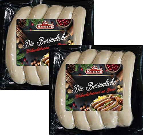 Weihnachtsbratwurst Oberlausitz | Die Besinnliche Bratwurst für Weihnachten mit Zitrone verfeinert | Grillwurst Bratwürste für Pfanne und Grill (1000g)