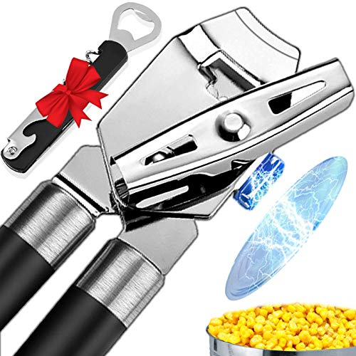 Can Opener, Best 4-in-1 Magnet Hand Held Can Openers, Manual Smooth Edge Can Opener with Portable Waiters Corkscrews, for Wine/Bottles/Jar/Tin Opener, Good Grips for Seniors with Arthritis/Weak Hands