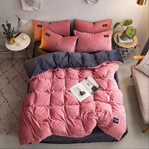 N/D 4pcs Bedding Sets Quilt Cover Bed Sheet Pillow Cover Comforter Thickened Pure Color Double Faced Cover Down Feather Duvet 180x200cm Pink