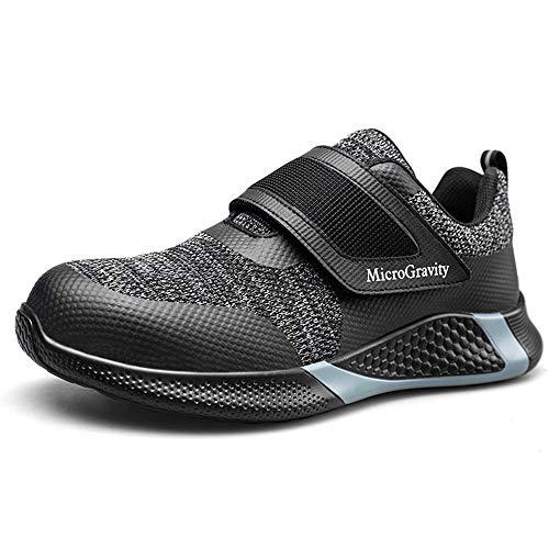 Lyoridra Arbeitsschuhe Herren Sicherheitsschuhe Damen S3 Leicht Atmungsaktiv Stahlkappe Schuhe mit Klettverschluss