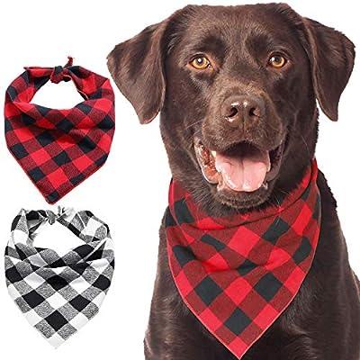 Kytely Dog Bandanas, 2 Pack Plaid Printing Cotton Pet Kerchief, Pet Scarf Birthday Gift Washable Dog Bandana for Small Medium Large Dogs Cats Pets