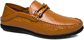 Ranipobo Microfiber Leather Penny Loafers Lightweight Breathable Anti-Slip Casual Sneakers Knot Lined Flat Slip-on for Men (Color : Yellow, Size : 6.5 UK)