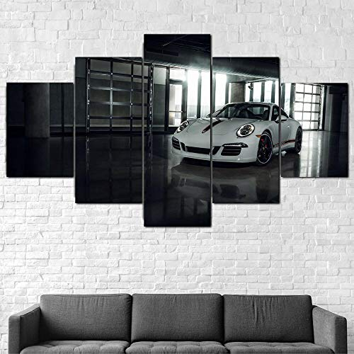TTTRR Impresión En Lienzo Coche Porsc 911 Carrera GTS 5 Piezas Cuadro sobre Lienzo, Modernos Grandes Arte Decoracion Salon Dormitorios Mural Pared Listo para Colgar 150*80 Cm