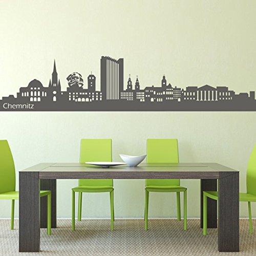 denoda® Chemnitz Skyline - Wandtattoo Grau 115 x 25 cm (Wandsticker Wanddekoration Wohndeko Wohnzimmer Kinderzimmer Schlafzimmer Wand Aufkleber)