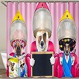 LISNIANY Tende da Doccia Tenda per Doccia,Cani dal Parrucchiere toelettatore,sotto Cappa di Essiccazione,sedie Rosse di Giornale,con Bandiera in Bianco,Tenda della Vasca da Bagno