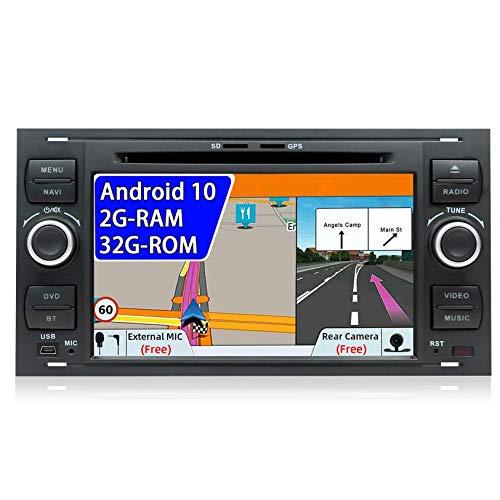 JIBO para Ford C-MAX/Connect/Fiesta/Focus/Fusion/Galaxy/Kuga S-MAX/Transit/Mondeo Android 10 Unidad Principal Estéreo para Automóvil Navegación GPS de 7 Pulgadas Micrófono Externo con WiFi 4G Dab SWC