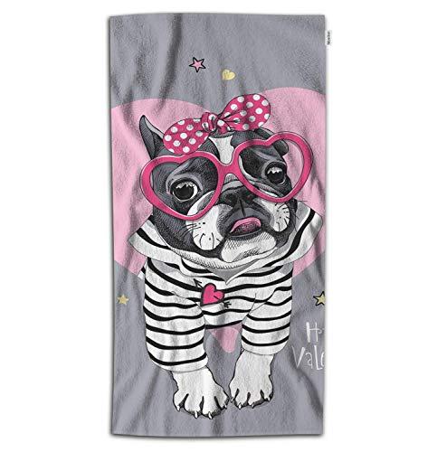 Moslion Dog Bath Towel Valentine's Day French Bulldog in Striped Cardigan with Pink Heart Glasses Polka Dot Towel Soft Microfiber Baby Hand Beach Towel for Kids Bathroom 32x64 Inch Grey