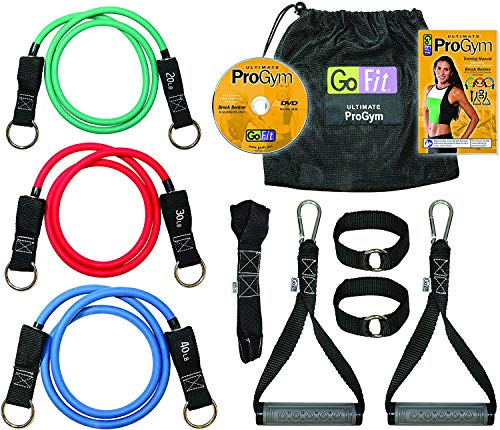 GoFit Ultimate ProGym - Portable Home Workout Equipment Includes Resistance Tubes, Handles, Door Anchors, Ankle Straps