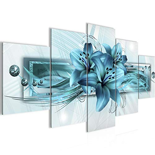 Bilder Blumen Lilien Wandbild 200 x 100 cm Vlies - Leinwand Bild XXL Format Wandbilder Wohnzimmer Wohnung Deko Kunstdrucke Blau 5 Teilig - MADE IN GERMANY - Fertig zum Aufhängen 008751a