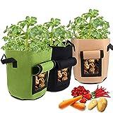 Vegena 3 Pcs Sac de Culture de Pommes de Terre, 26.5L/7 Gallons Sac de Plantation Jardin, Sac de Croissance Legumes en Tissu Non-tissé Respirant et Durable (Vert + Marron + Noir)
