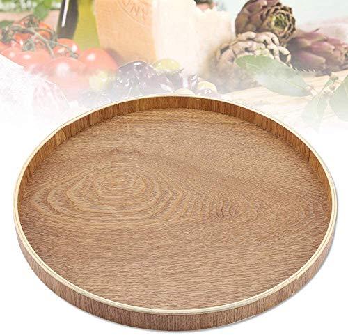 Bandeja redonda de bambú para servir té, cena, desayuno, frutas, caramelos, alimentos 33 cm