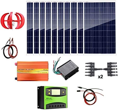 RDJM Turbina eólica 1,4 kW Energía Eólica Solar: turbina de Viento 400W...