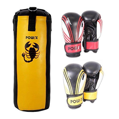 POWRX Boxset für Kinder/Jugendliche Boxsack und 2 Paar Boxhandschuhe (Rot/Schwarz und Gelb/Schwarz) 2,5 Fuß