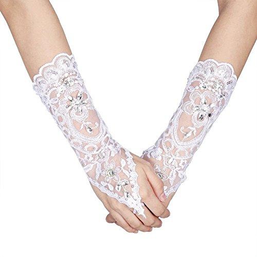 Bridal Wedding Gloves Ivory Lace Flower Vintage Style Rhinestone Satin Wedding Party Fingerless Gloves