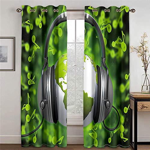 ZHHSJJ Cortina Opaca termica Aislante Auricular Verde 2 x 117x138cm(An x Al) Ojales Cocina Salon Dormitorio Moderno Ventana habitacion niño oscurecimiento Reduccion Ruido