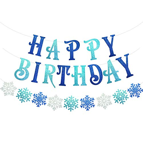 Snowflake Birthday Banner, Blue Glittery Frozen Birthday Banner, Snowflake Happy Birthday Decorations for Boys Girls Frozen Birthday Party Winter Wonderland Birthday Party Decorations Baby Shower