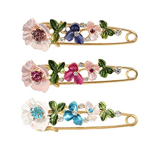 Tpocean 3 Pieces Crystal Flower Safety Decorative Pins Brooch Clip Clasp Pin for Clothing Scarves Shawl Buttons