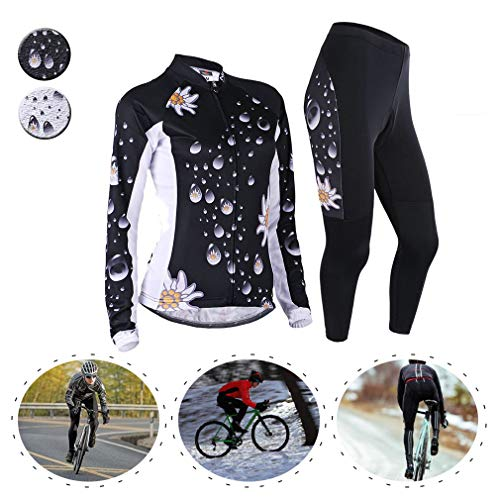 YILIFA Fietskleding voor dames, Winter Thermisch Fleece Fietsen Jersey Suit, Ademende Mountainbike Road fietsshirt gewatteerde broek