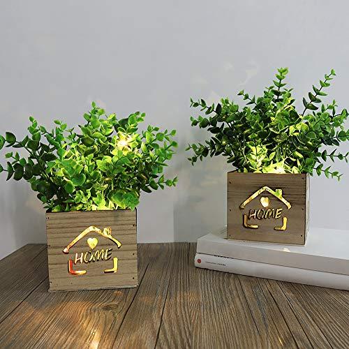 AceList 2 plantas artificiales decorativas con luces LED en caja de madera, 11 x 9 x 26 cm, plantas artificiales al aire libre para el hogar, la oficina, la cocina, el día de San Valentín