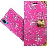 HülleExpert Wiko Y80 Handy Tasche, Wallet Hülle Cover Flower Bling Diamond Hüllen Etui Hülle Ledertasche Lederhülle Schutzhülle Für Wiko Y80