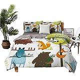 Forest Sheet Set-3 Piece Set, Comforter Set Cartoon Style Animals Like Bear Deer Fox Owl Pig Mouse Squirrel and Rabbit Print, 1 Duvet Cover 2 Pillowcases Multicolor