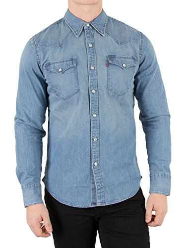 Levi's Herren Jeans Hemd L/S Barstow Western Shirt, Blau (Dark Indigo - Worn In), X-Small