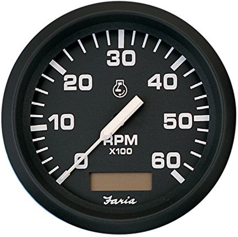 promociones Faria 4  Tachometer w Hourmeter Hourmeter Hourmeter - 6,000 RPM (Gas - Inboard) - Euro negro by Faria Beede Instruments  autentico en linea