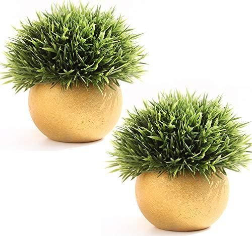 FEILANDUO 2 plantas falsas con macetas, mini plantas artificiales para decoración de escritorio para baño, césped sintético para interiores (dorado+dorado)
