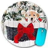 Alfombrilla redonda para ratón, adorable cachorro de perro mascota navideño en cesta con lazo rojo, vacaciones de invierno, base de goma antideslizante, alfombrillas para ratón de oficina en casa, peq