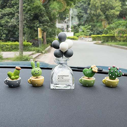 RAP Auto creatieve kleine verse cactus potted schudde zijn hoofd pop decoratie in het midden console decoratieve plant decoratie vrouwelijke beker potplant + gebroken witte ballon [glazen flessen] [gefotografeerd om lange antislip mat te sturen]
