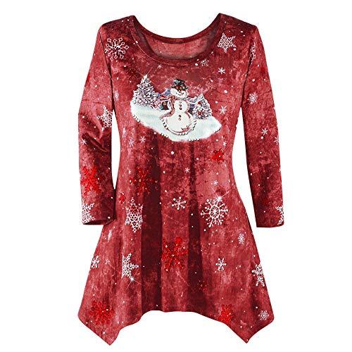 VEMOW Heißer Elegante Damen Plus Size Oberteile Winter Festliche Wasserfall Weihnachten Unregelmäßige Lässige Tägliche Party Lose Hem Bluse Top(X2-Weinrot, 54 DE / 5XL CN)