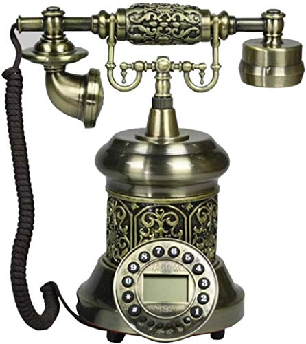 LLKK Teléfono retro, europeo antiguo de madera maciza y resina teléfono fijo telefónico, electromecánico doble campana vintage teléfono fijo
