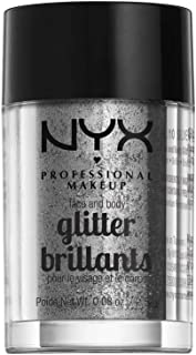 NYX PROFESSIONAL MAKEUP Face & Body Glitter, Silver, 0.08 Ounce