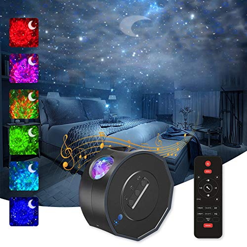 Proyector de Luz Estelar,Estrellas Water Wave Moon Lámpara Proyector Infantil,26 Modos Proyector LED Color Control de Voz Lampara...